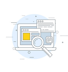 Seo and smm icon - laptop with open windows and vector