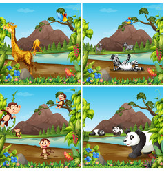 set of wild animal in nature scene vector image