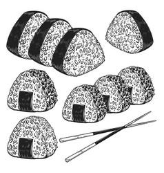 Set onigiri in engraving style design vector