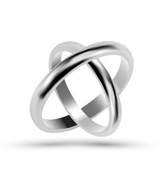 Silver or platinum jewelry wedding rings vector