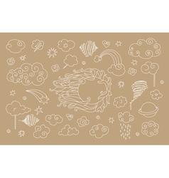 sky doodles vector image