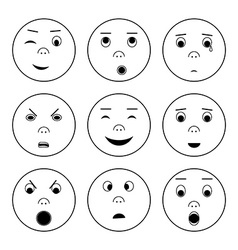 smile emoticon set vector image