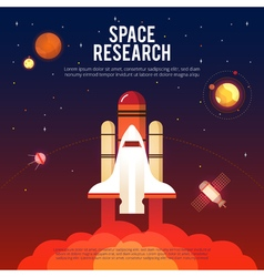 Space Research And Exploration Flat Banner vector image