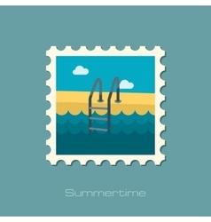 Swimming pool flat stamp vector