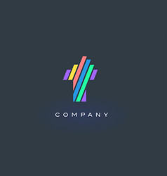 t letter logo with colorful lines design rainbow vector image