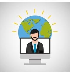 teacher education online global vector image