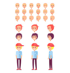 teenage boy personal constructor set of emotions vector image