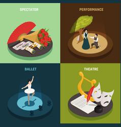 theatre isometric design concept vector image