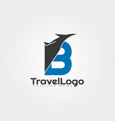 Travel agent logo design with initials b letter vector