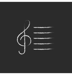 Treble clef icon drawn in chalk vector image