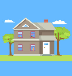two storey house man in window with cup of coffee vector image