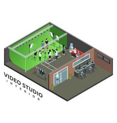 Video Studio Interior Isometric View vector