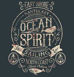 Vintage ocean spirit adventure badge vector