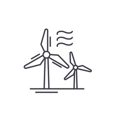 Wind power line icon concept wind power vector