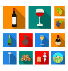 wine products flat icons in set collection for vector image
