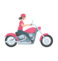 young woman riding motorcycle side view girl vector image