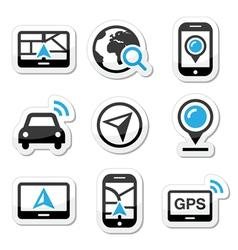 GPS navigation travel icons set vector image