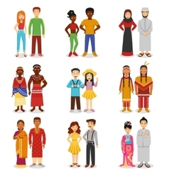 National Couples Icons Set vector image