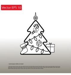 Christmas Outline Tree vector image