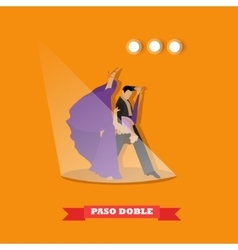 Couple dancing paso doble concept poster vector image