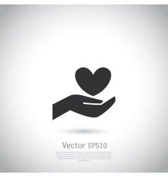 Hand holding heart symbol sign icon logo vector image