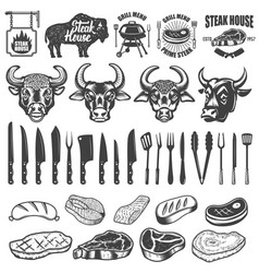 set of bbq and grill labels and design elements vector image