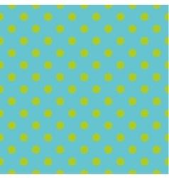 Tile pattern green polka dots on blue background vector image vector image