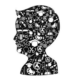 boy head full of creative ideas vector image