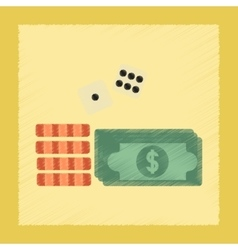 flat shading style icon Money dice chips vector image