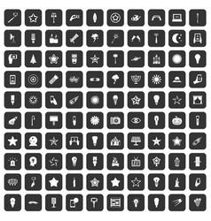 100 light icons set black vector