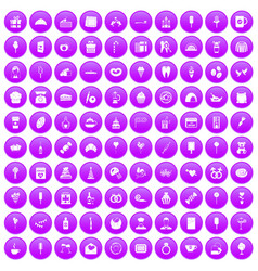 100 sweets icons set purple vector