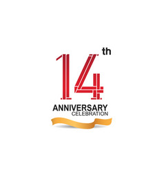 14 anniversary celebration logotype with red vector