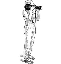 A girl photographer takes photo vector