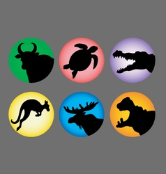 Animal Silhouette Color 3 Icons vector image