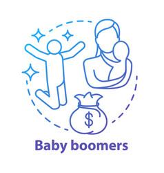 Baby boomers concept icon generation idea thin vector