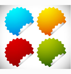 Badge shapes in 4 bright colors vector