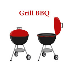 Barbecue set - grill station opened cap vector