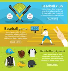 baseball club banner horizontal set flat style vector image