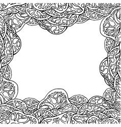 black and white cover with lace doodle trees and vector image