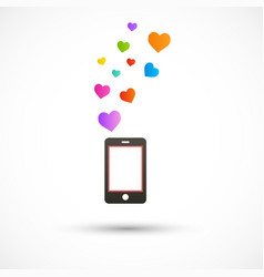 Black phone with bright hearts colorful vector