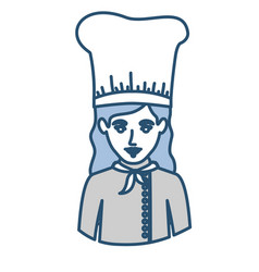 Blue silhouette with half body of female chef vector