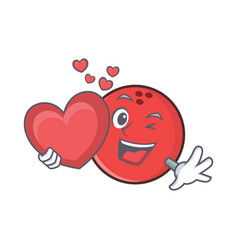 Bowling ball character cartoon with heart vector