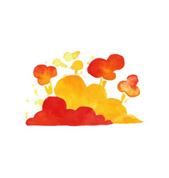 Bright explosive cloud in red and orange colors vector