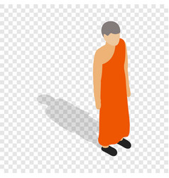 buddhist monk wearing orange robe isometric icon vector image