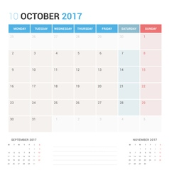 Calendar Planner for October 2017 vector