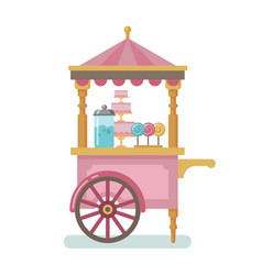 Candy cart flat vector