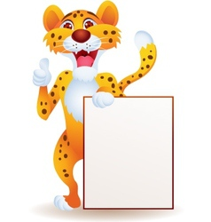 cartoon cheetah with blank sign vector image