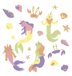 Caticorns and unicorns mermaid vector