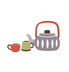 ceramic teapot and pair cups or mugs in hygge vector image
