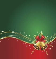 Christmas background with bells ribbons vector